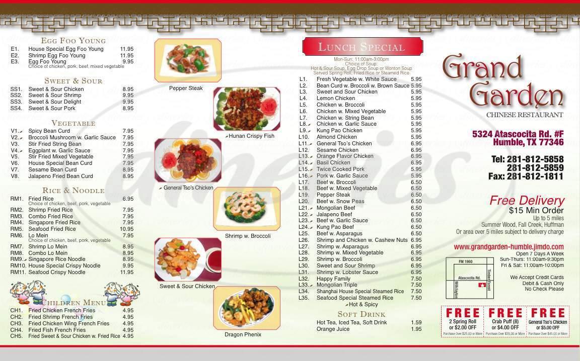 menu for Grand Garden