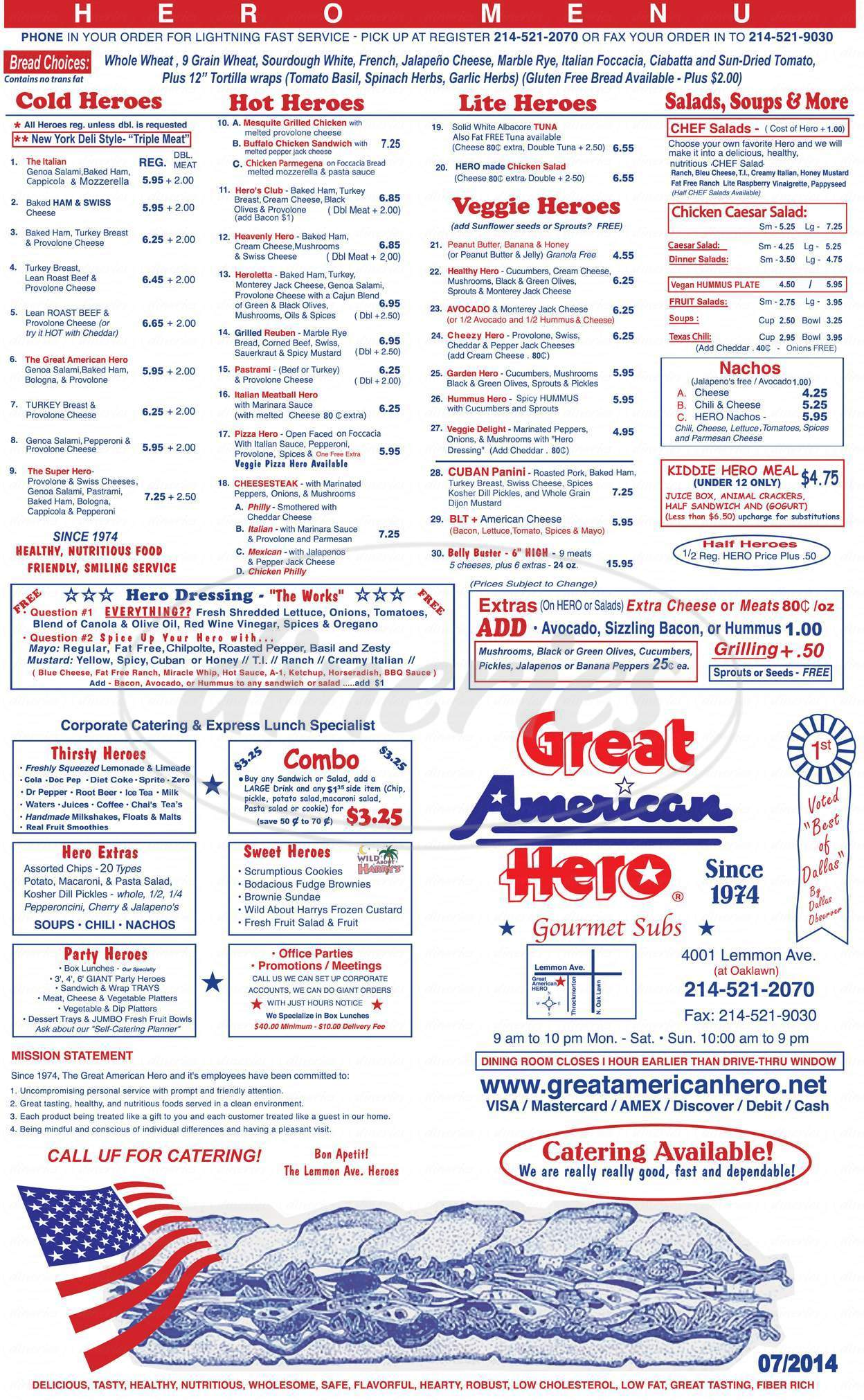 menu for Great American Hero