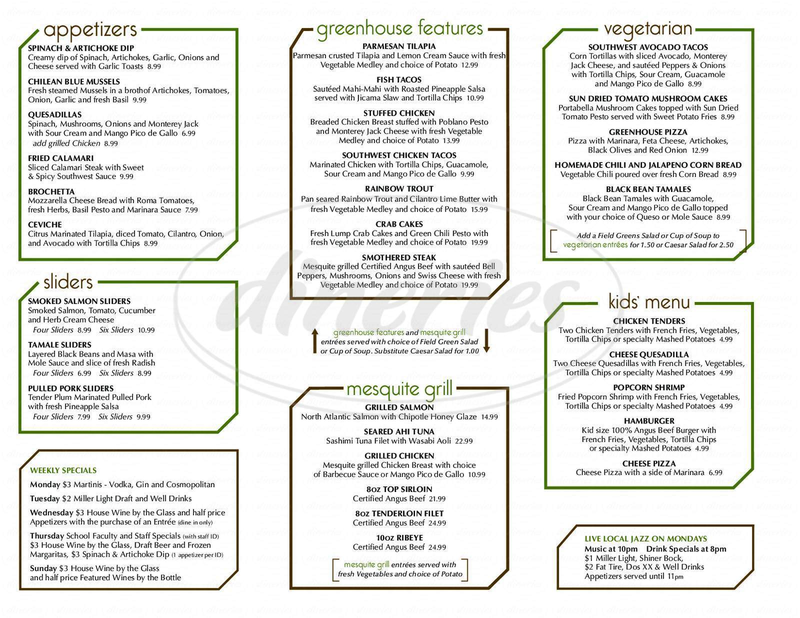 menu for Greenhouse Restaurant & Bar