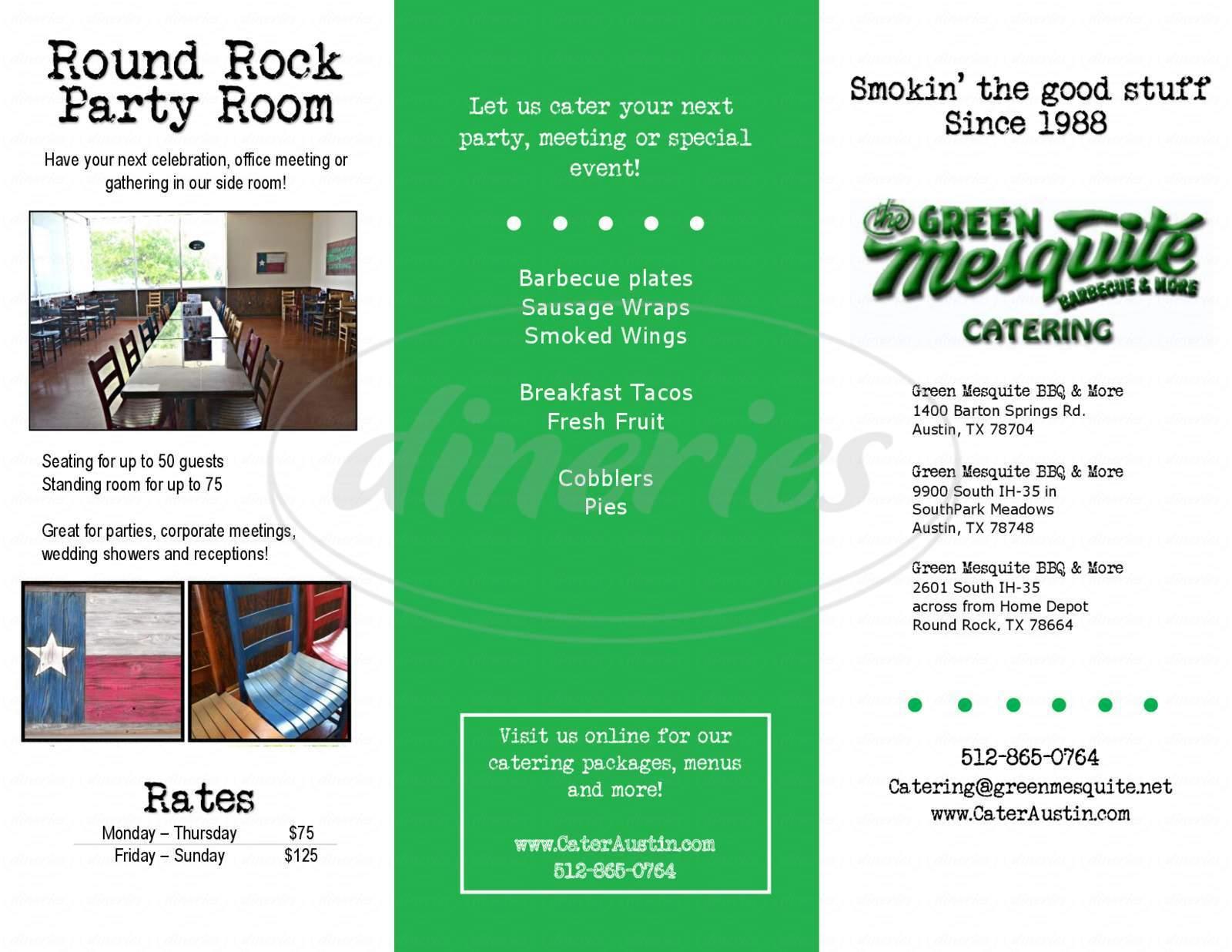 menu for Green Mesquite BBQ