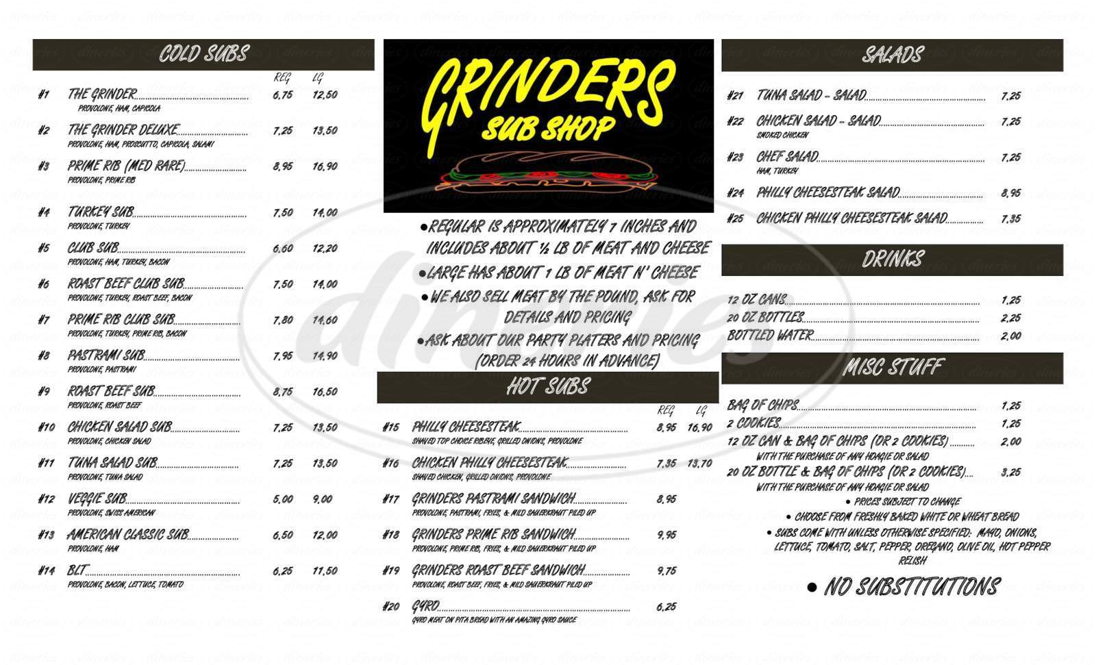 menu for Grinders Sub Shop