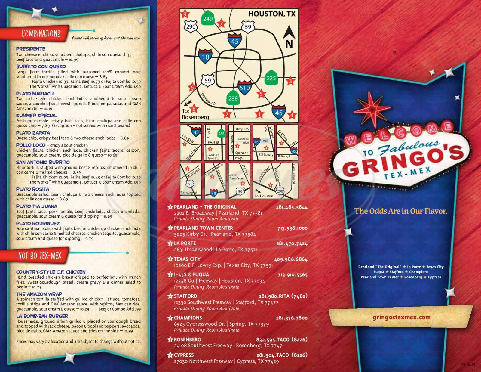 menu for Gringo's Mexican Kitchen