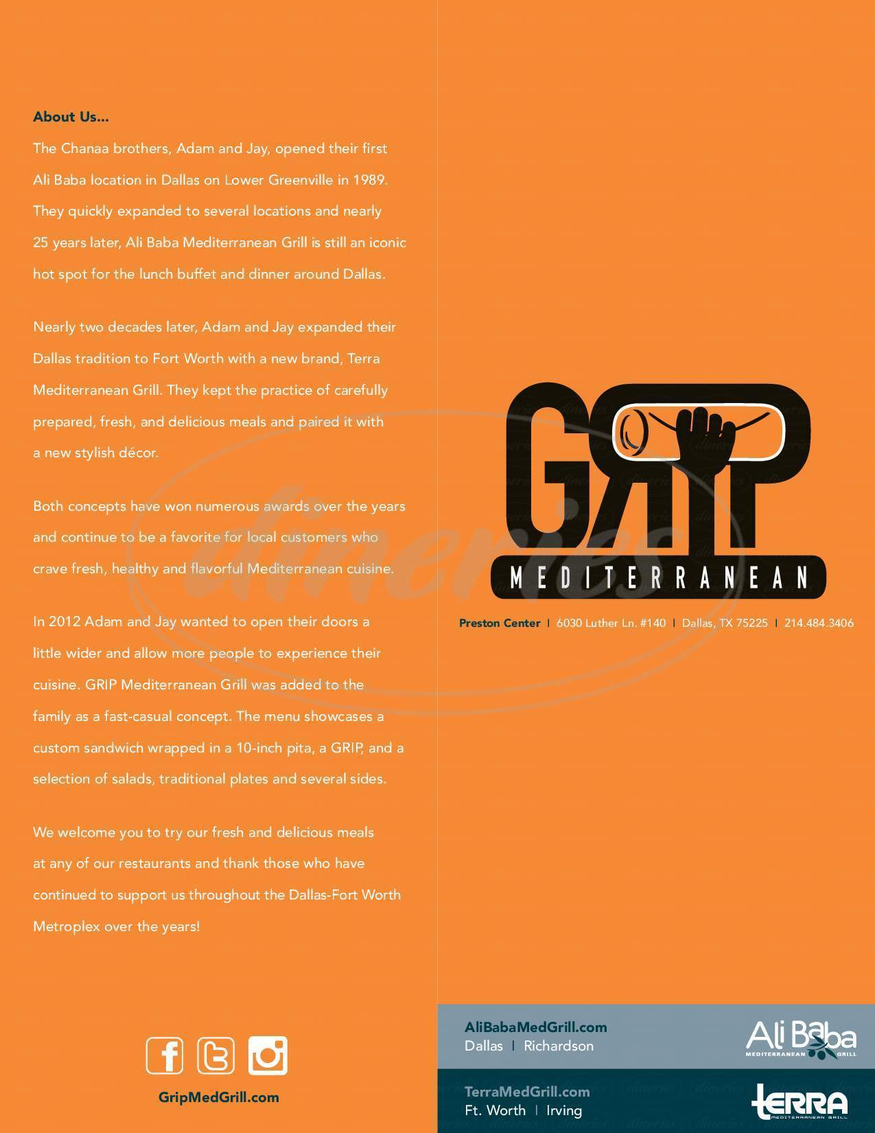 menu for GRIP Mediterranean Grill