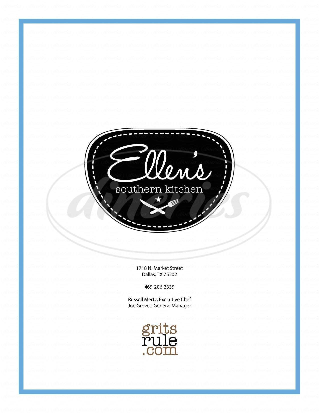 menu for Ellen's Southern Kitchen