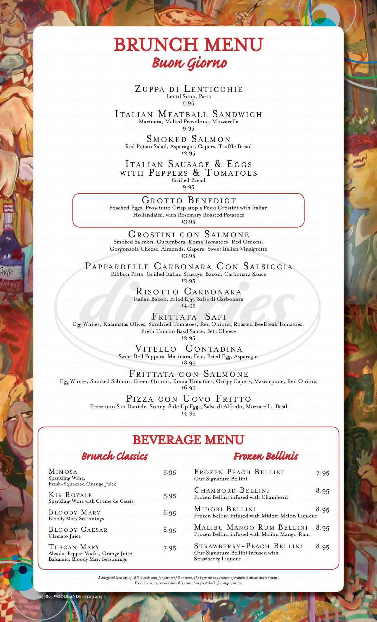 menu for Grotto Ristorante