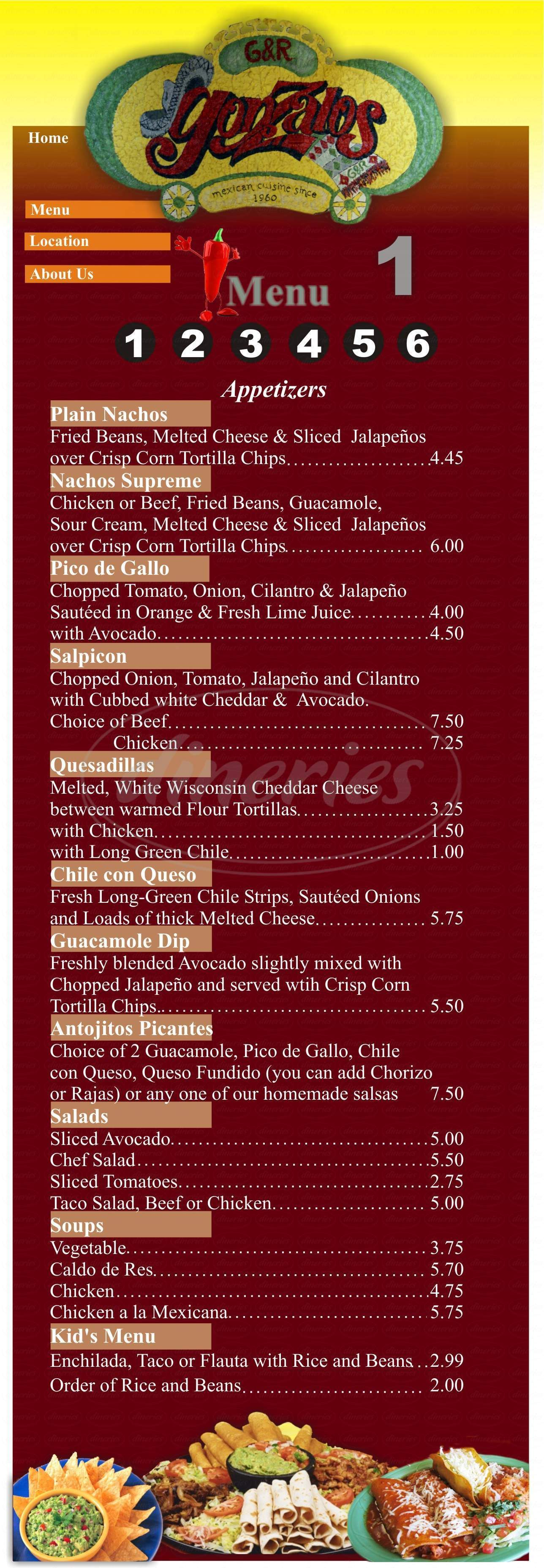 menu for Gonzalo's On Nevada