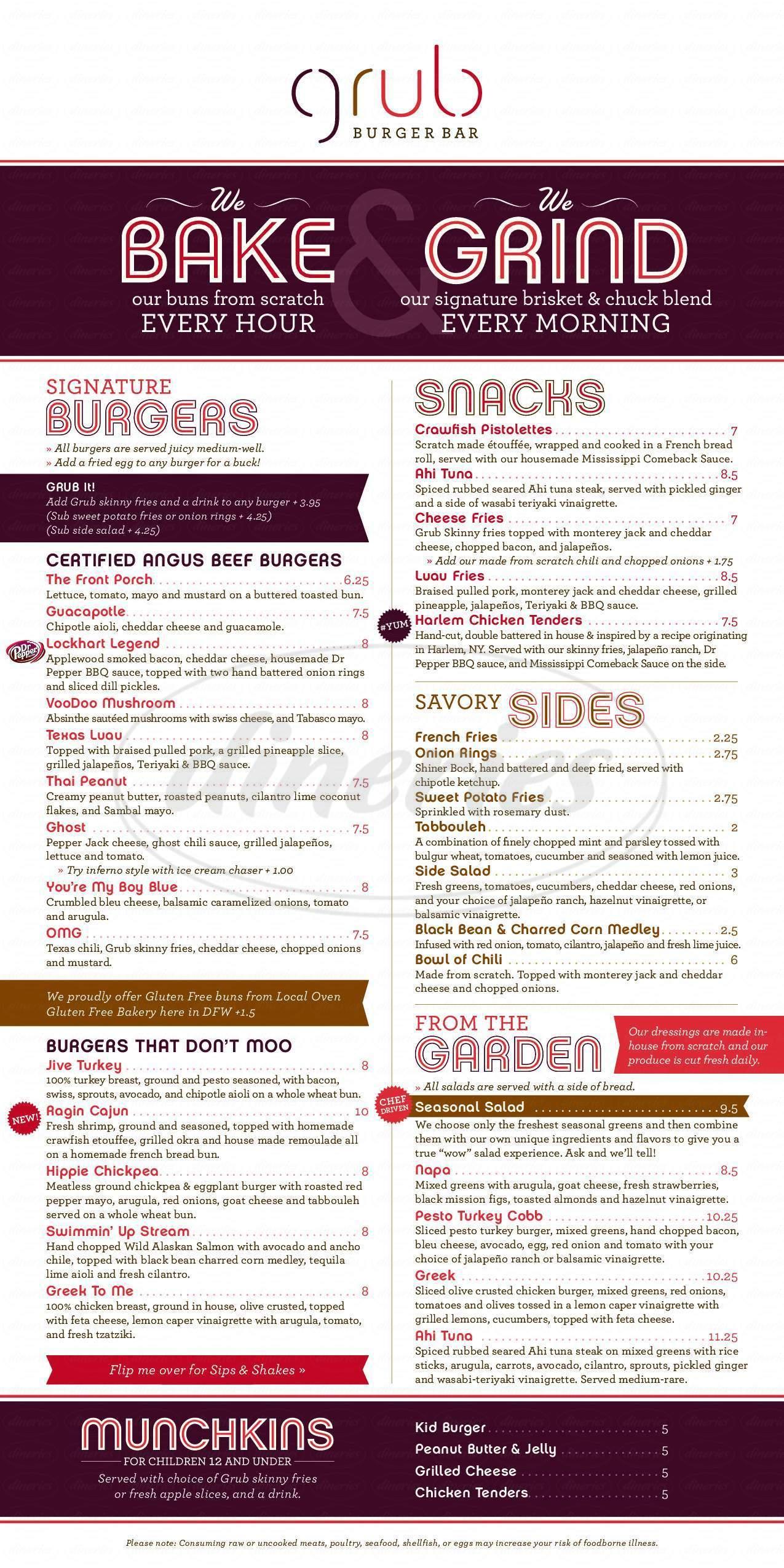 menu for Grub Burger Bar