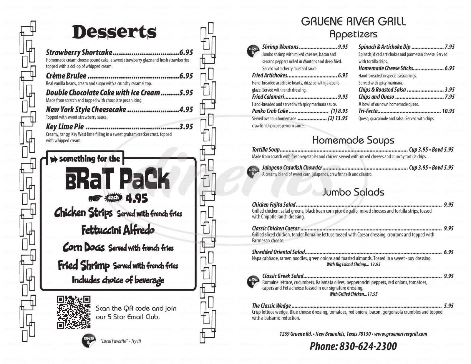 menu for Gruene River Grill
