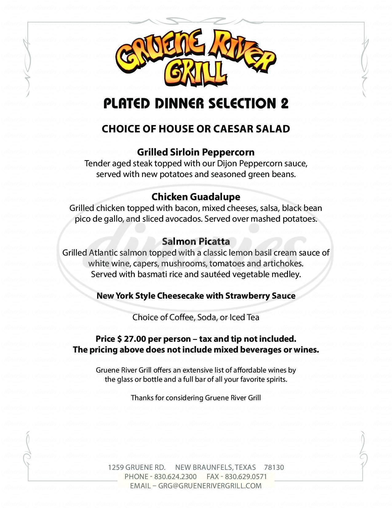 menu for Gruene River Grill