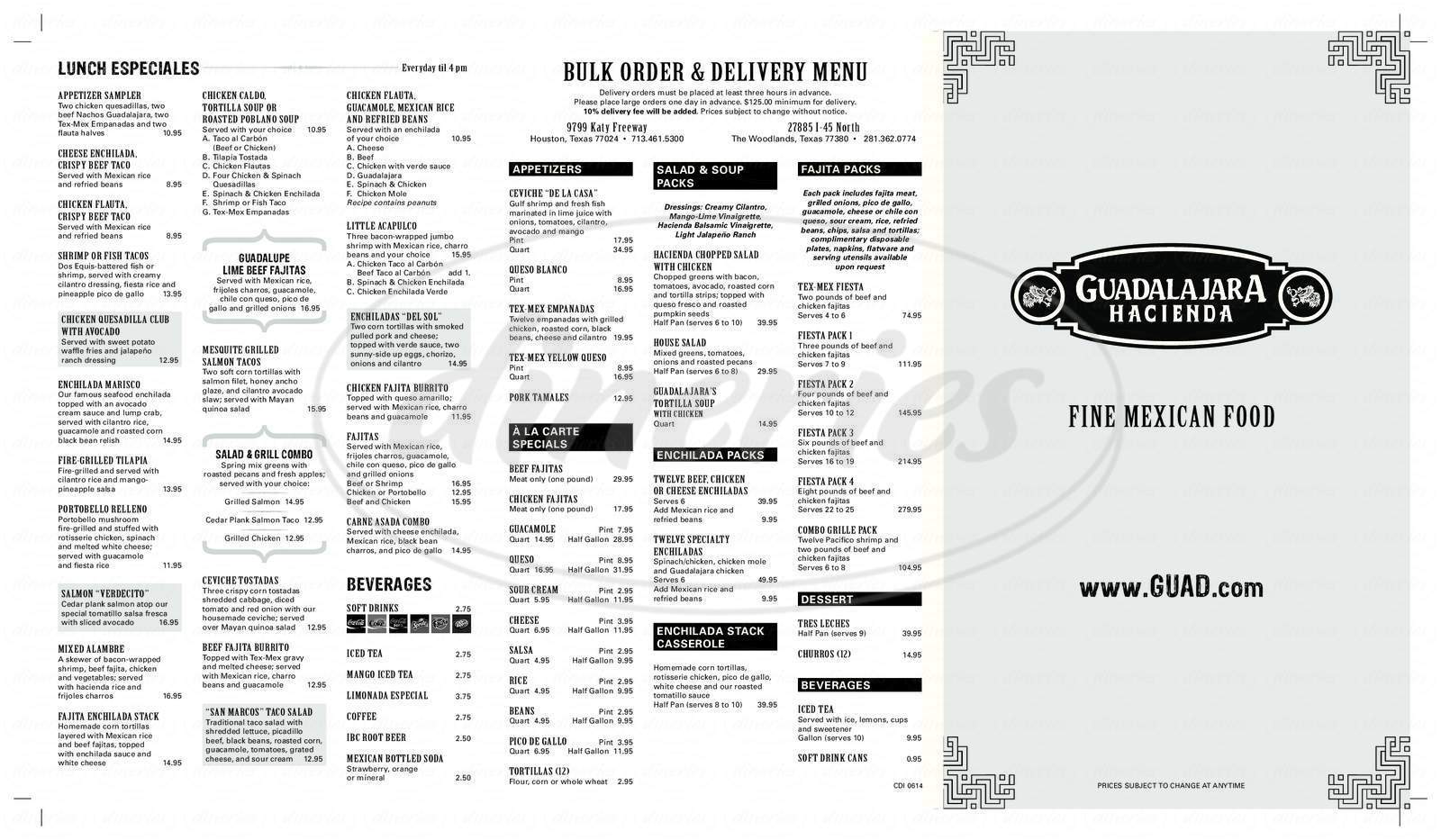 menu for Guadalajara Hacienda