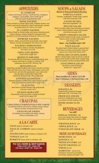 menu for Guadalajara Mexican Restaurant