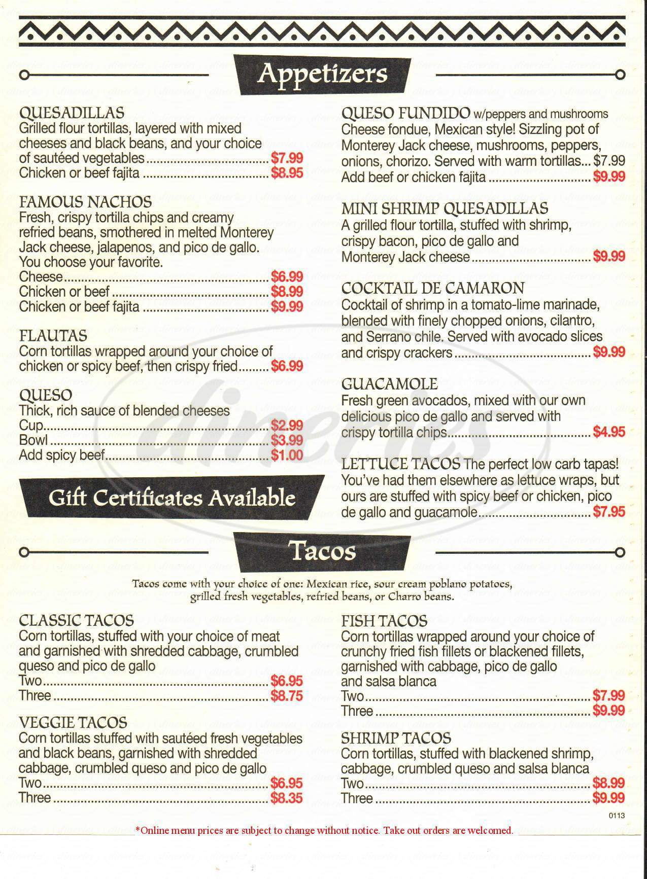 menu for Gus' Mexican Restaurant