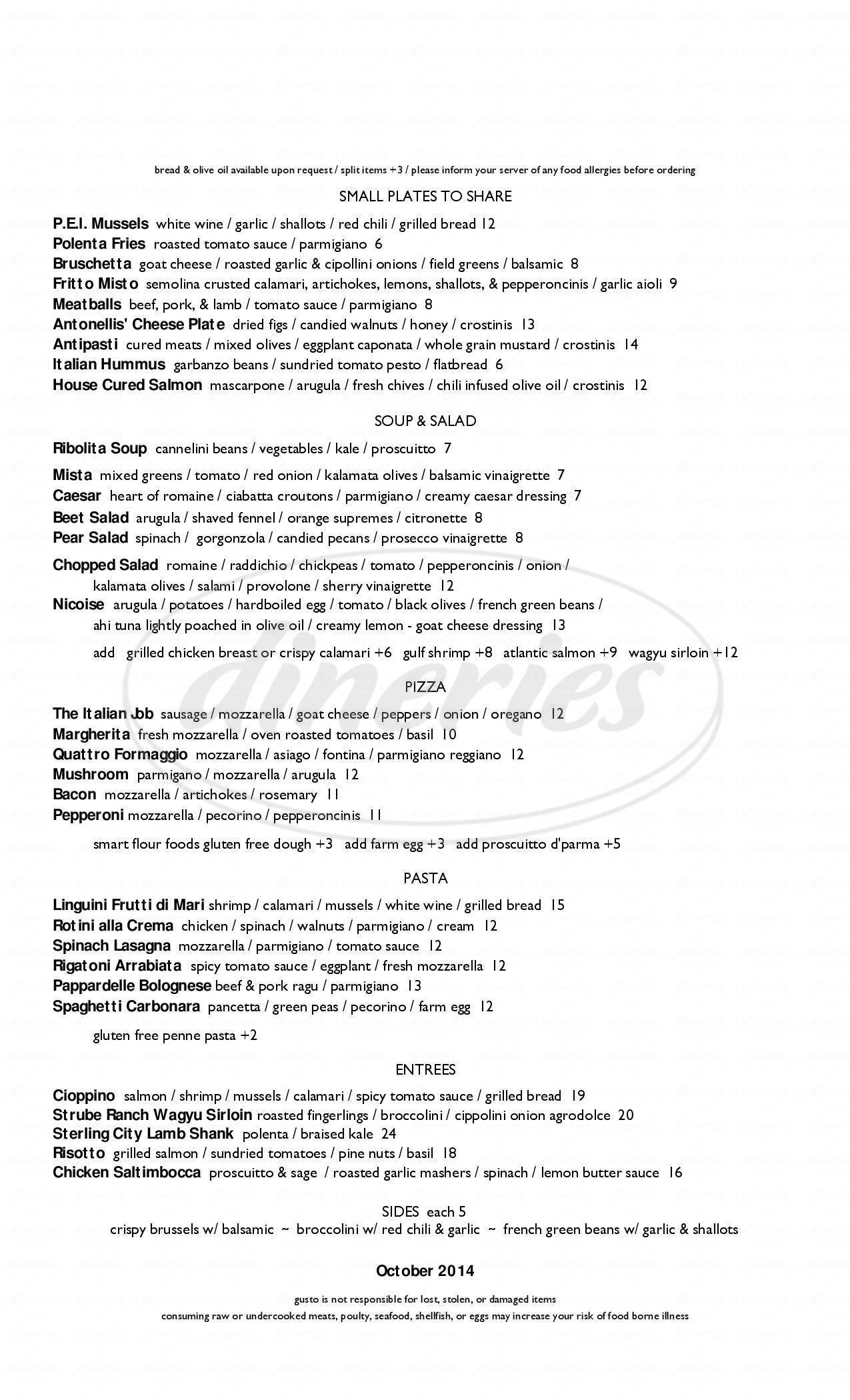 menu for Gusto Italian Kitchen & Wine Bar