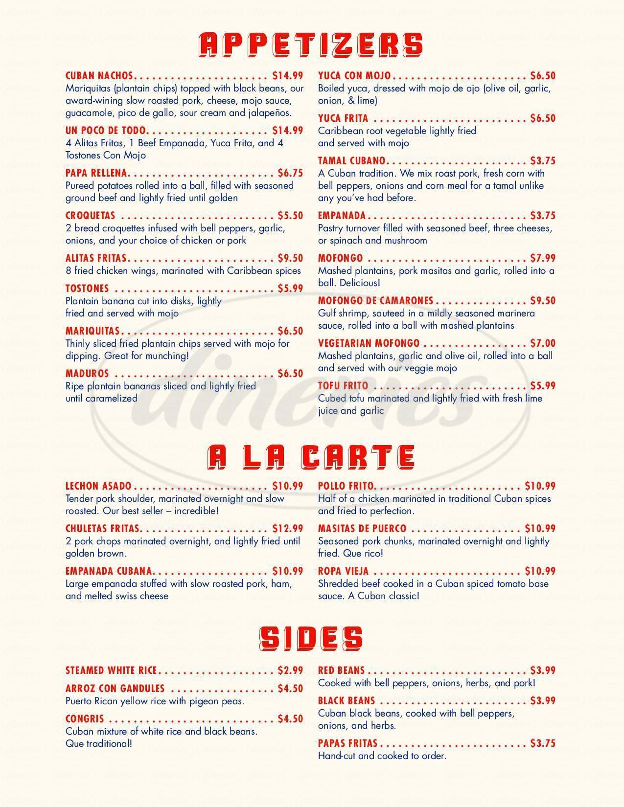menu for Habana Soco Restaurant