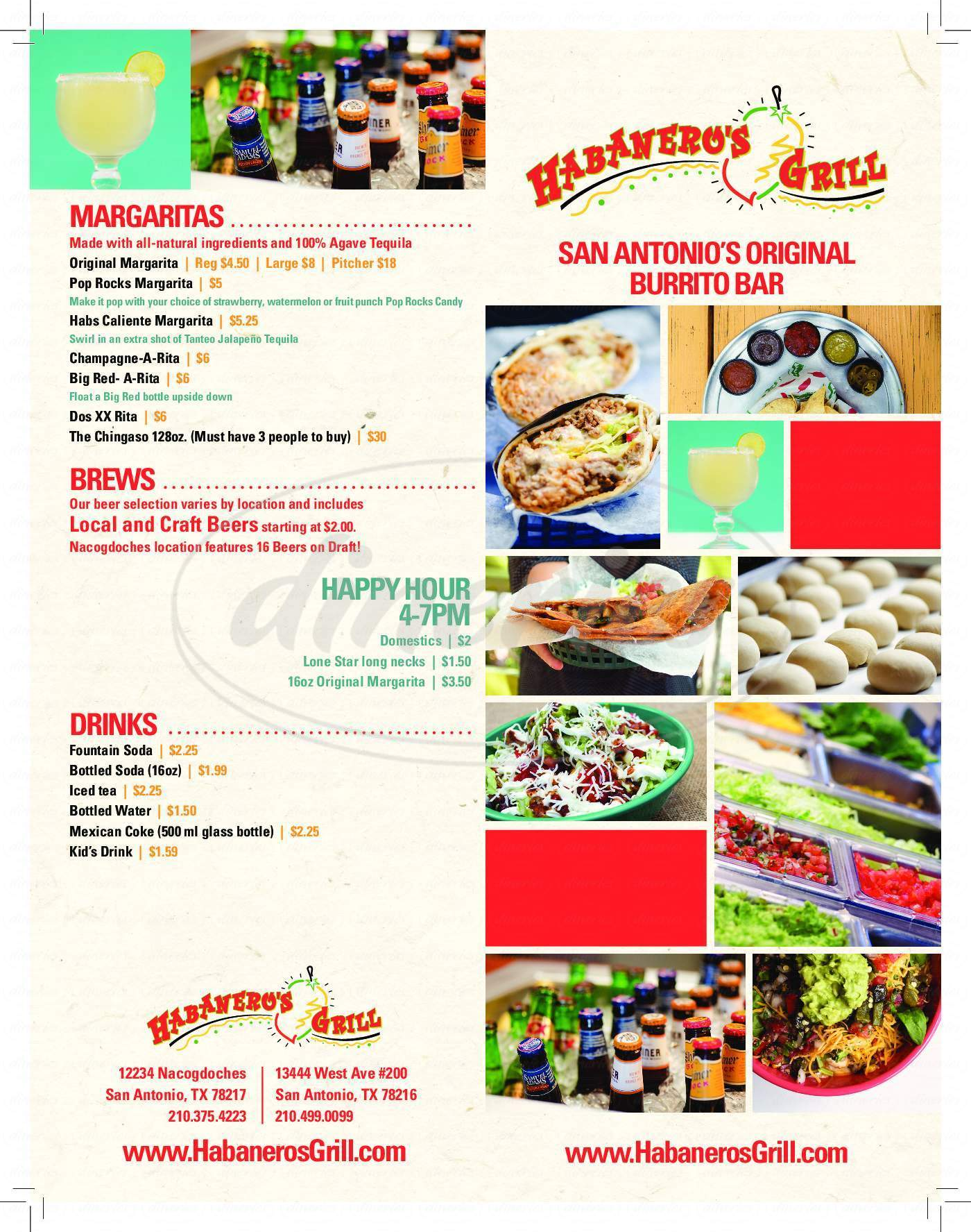 menu for Habanero's Grill