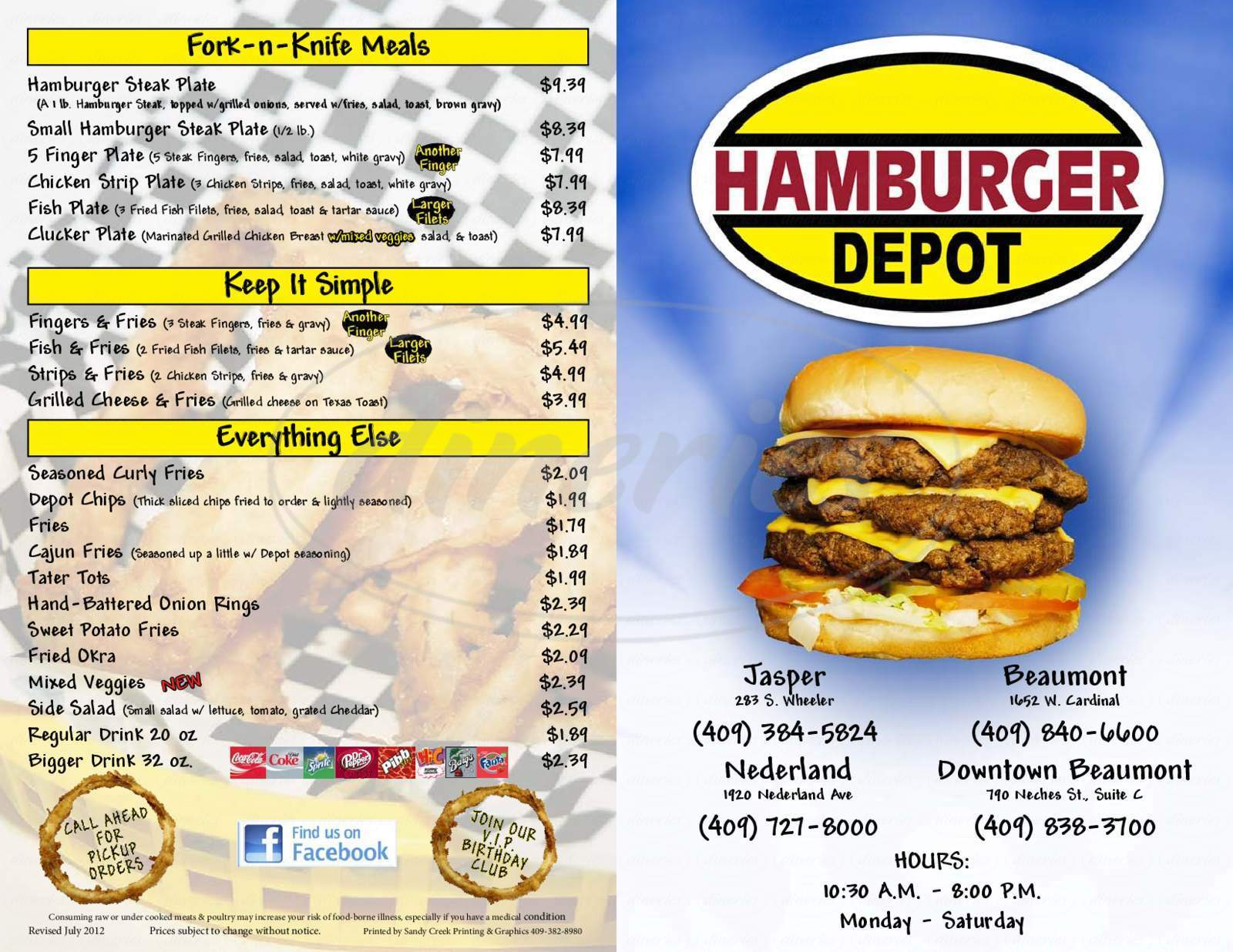 menu for Hamburger Depot