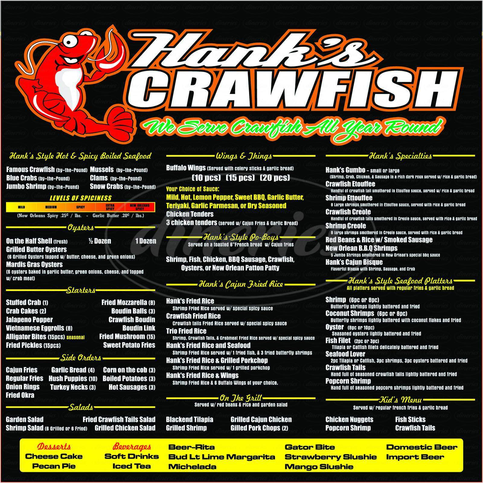 menu for Hank's Famous Cajun Crawfish