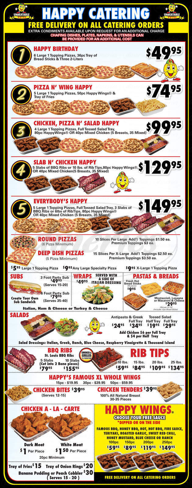 menu for Happy's Pizza