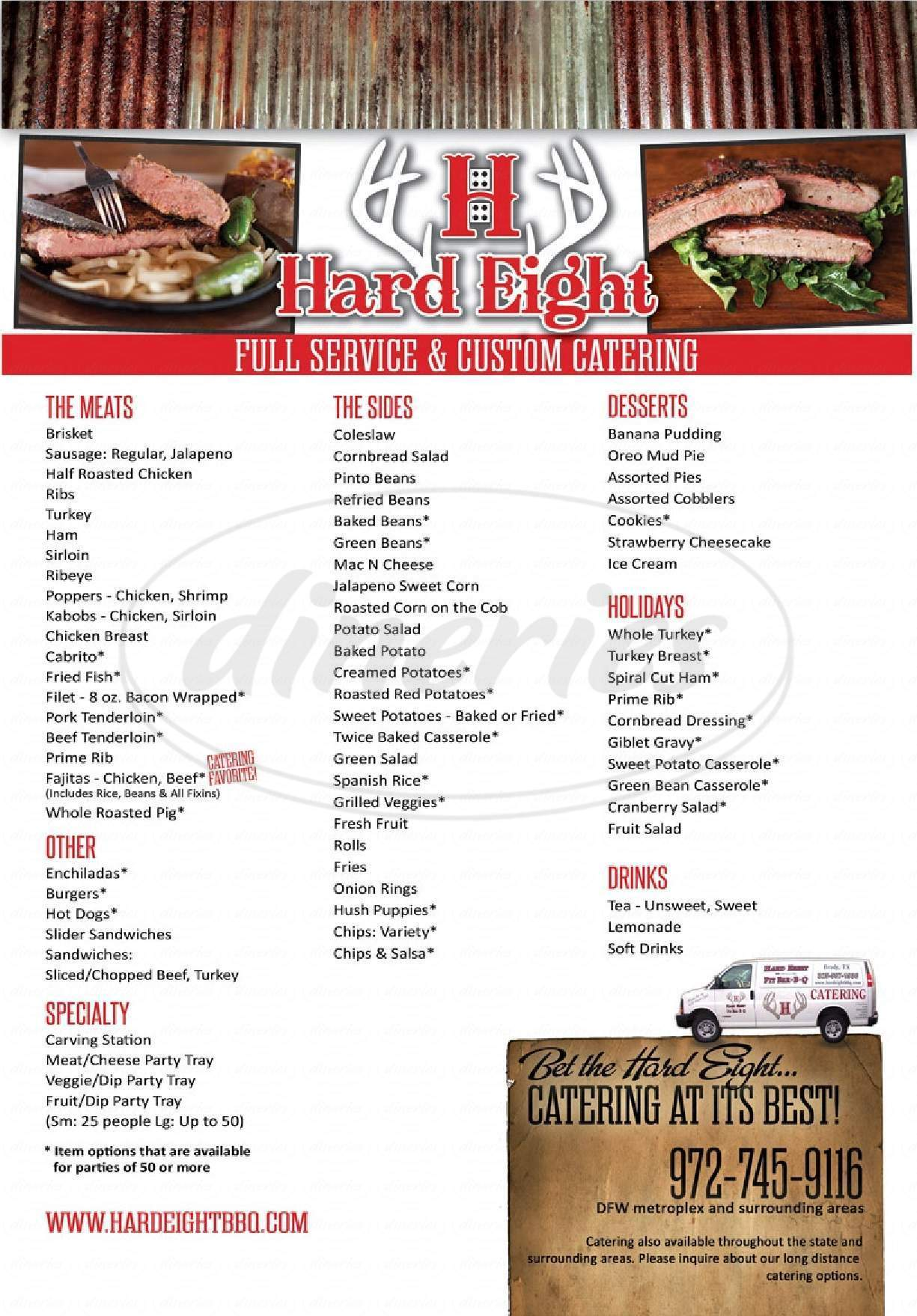 menu for Hard Eights BBQ
