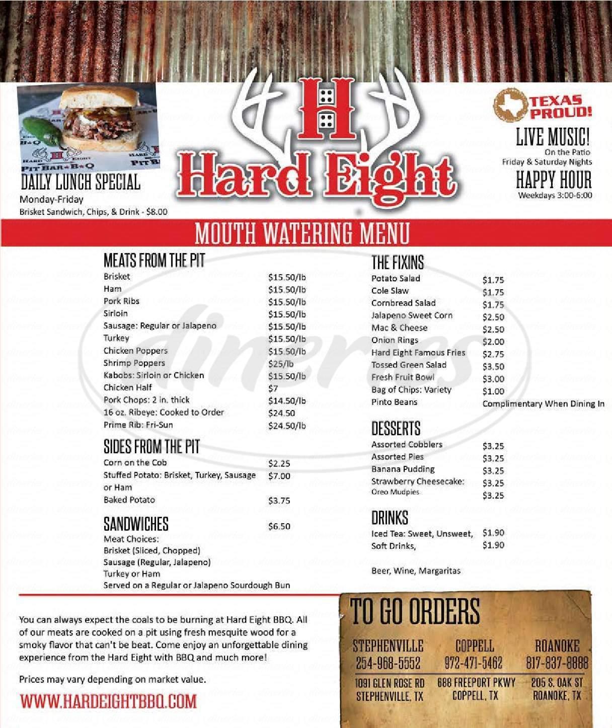 menu for Hard Eight BBQ