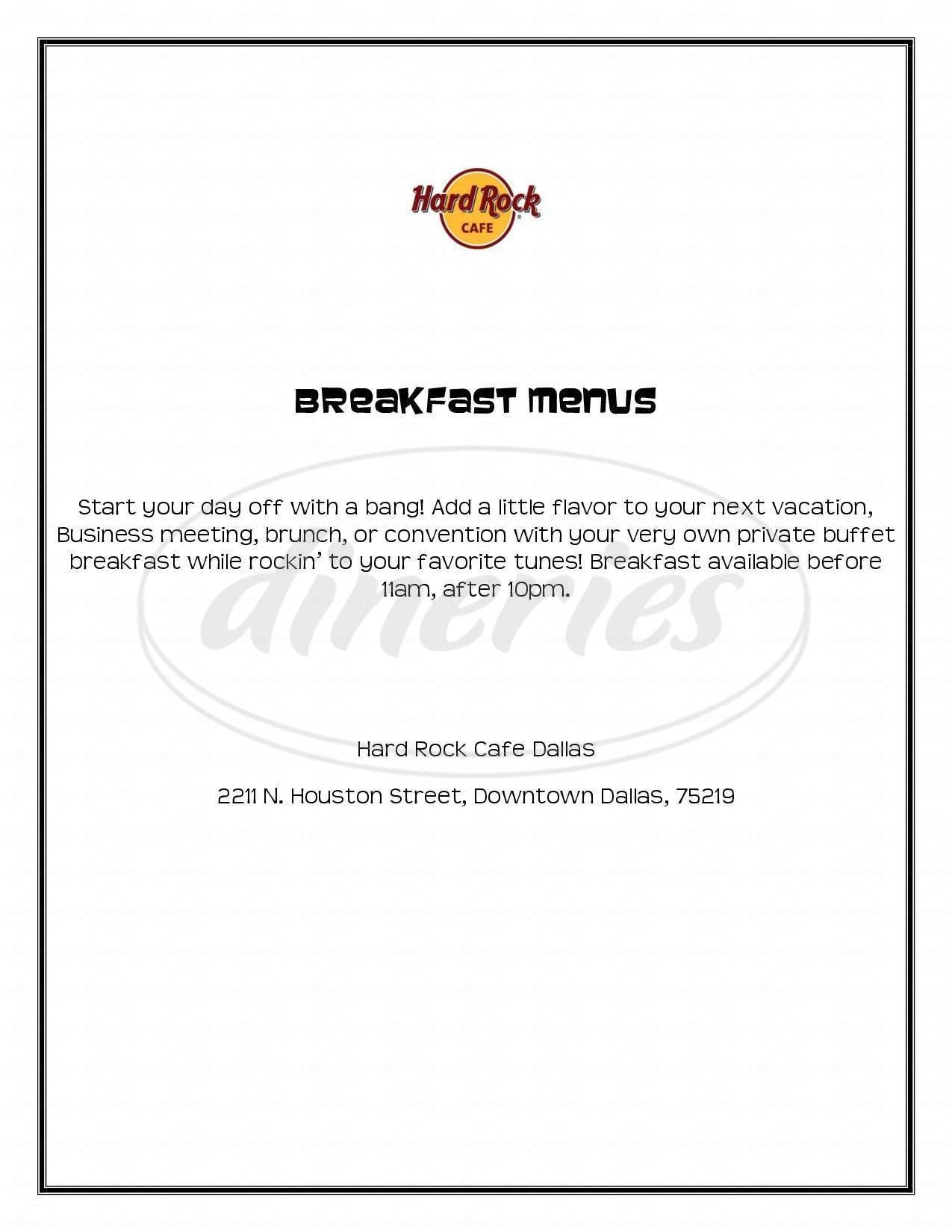 menu for Hard Rock Cafe