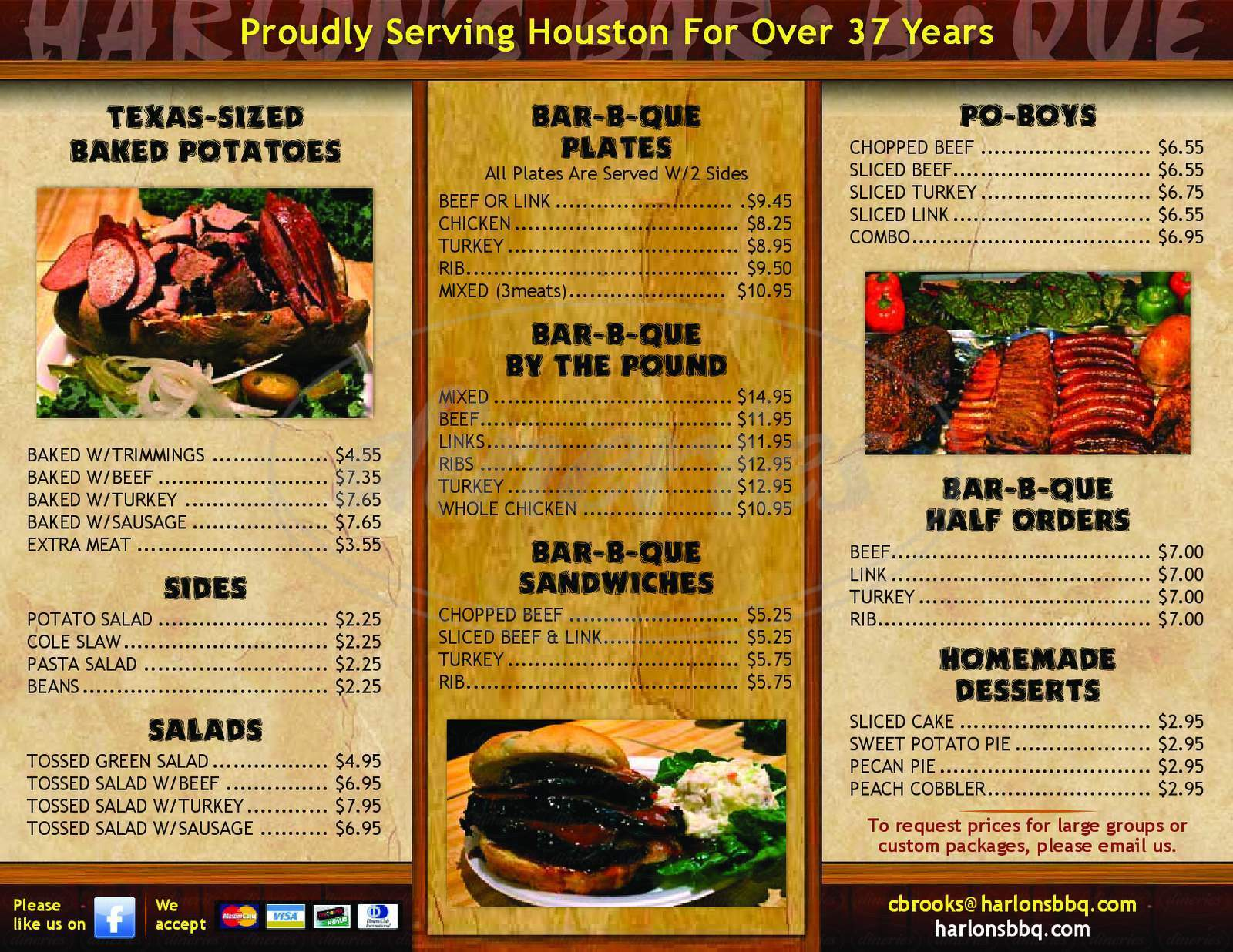 menu for Harlon's Bar-B-Q