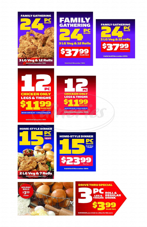 menu for Hartz Chicken Buffet