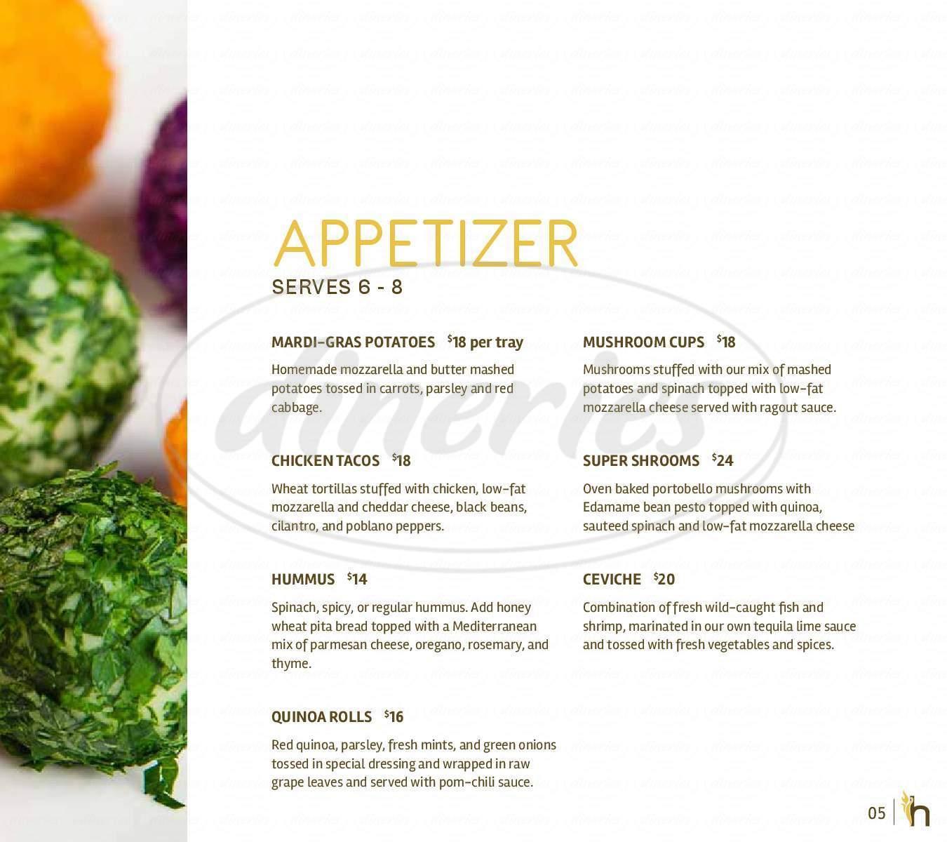 menu for Harvest Organic Grille