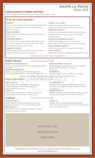 menu for Hasta la Pasta