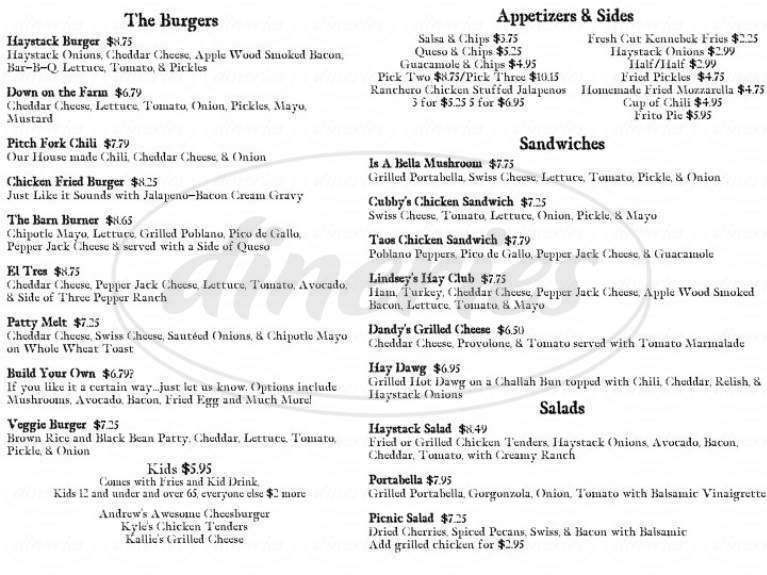 menu for Haystack Burgers & Barley