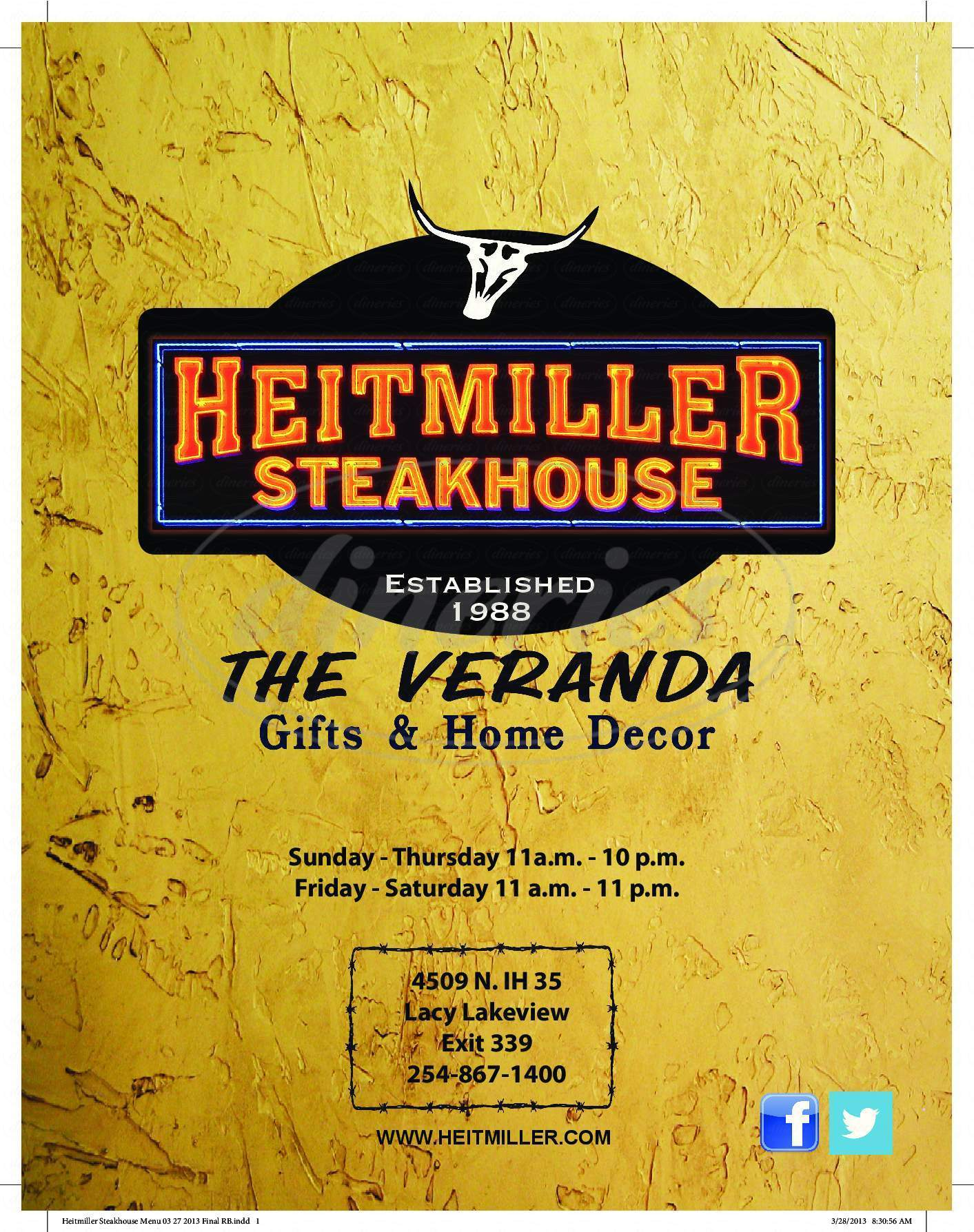 menu for Heitmiller Steakhouse