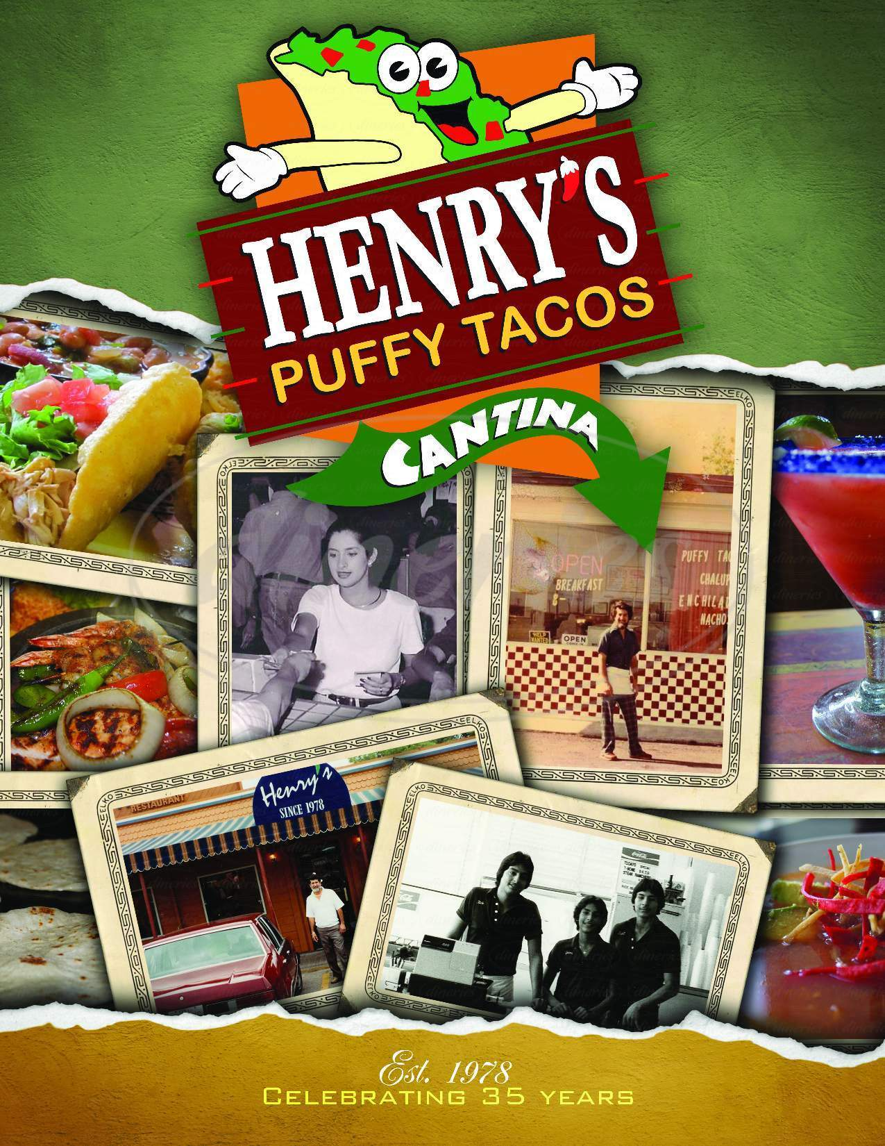 menu for Henry's Puffy Tacos