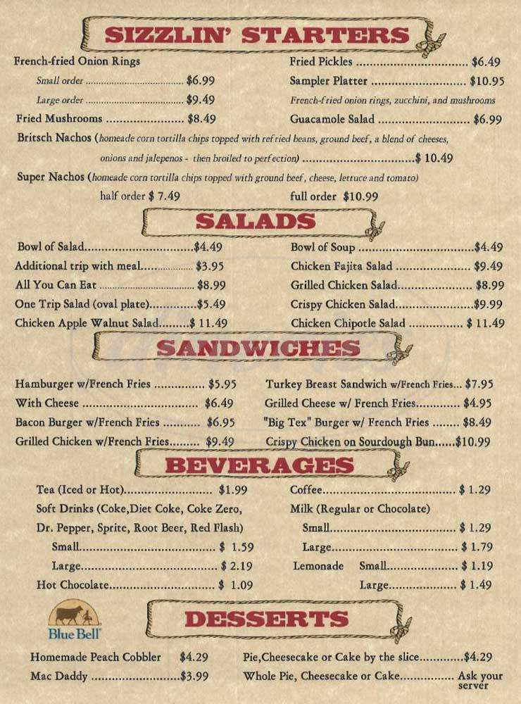 menu for Hermann Sons