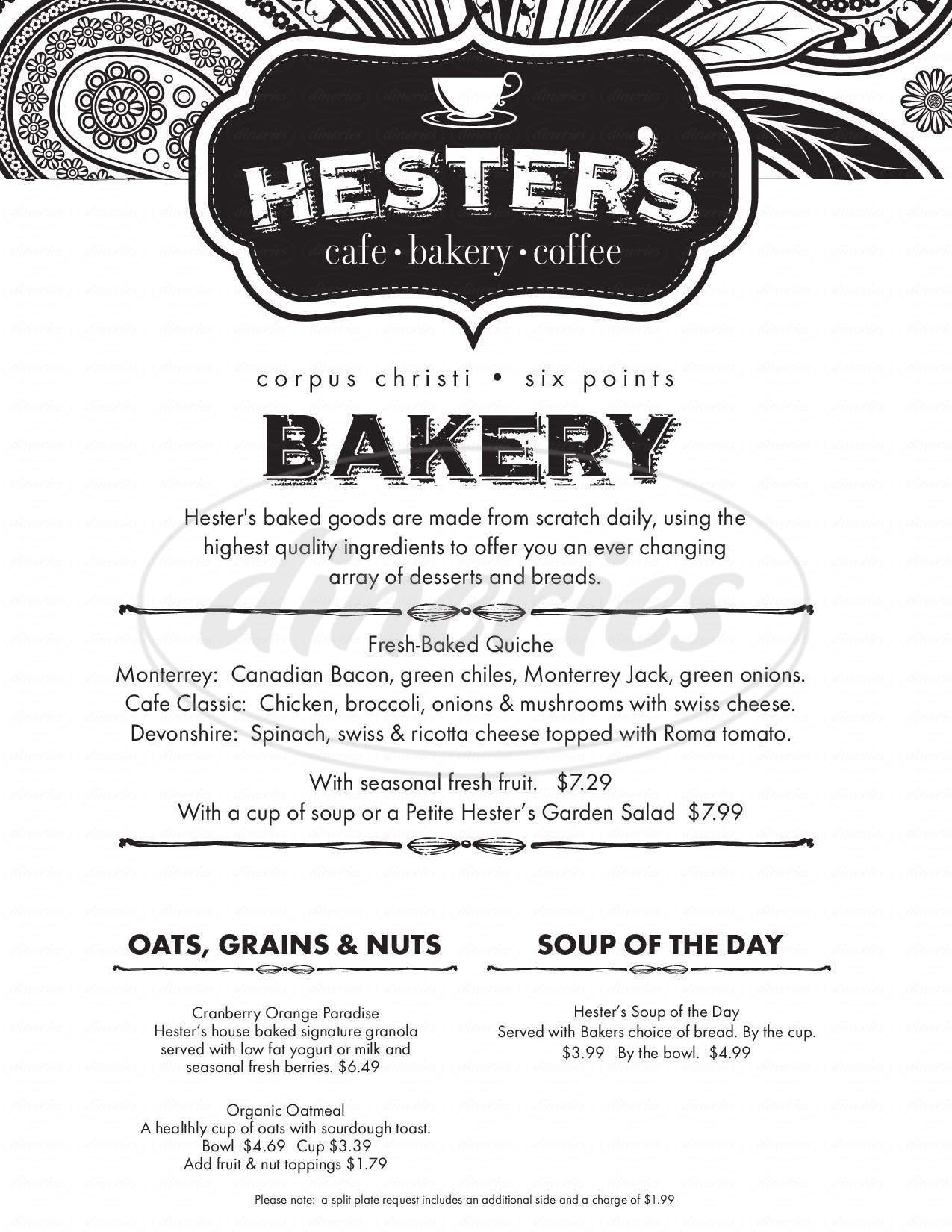 menu for Hester's Cafe & Coffee Bar