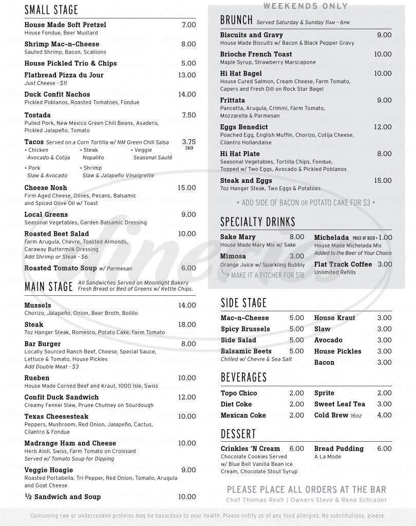 menu for Hi Hat Public House