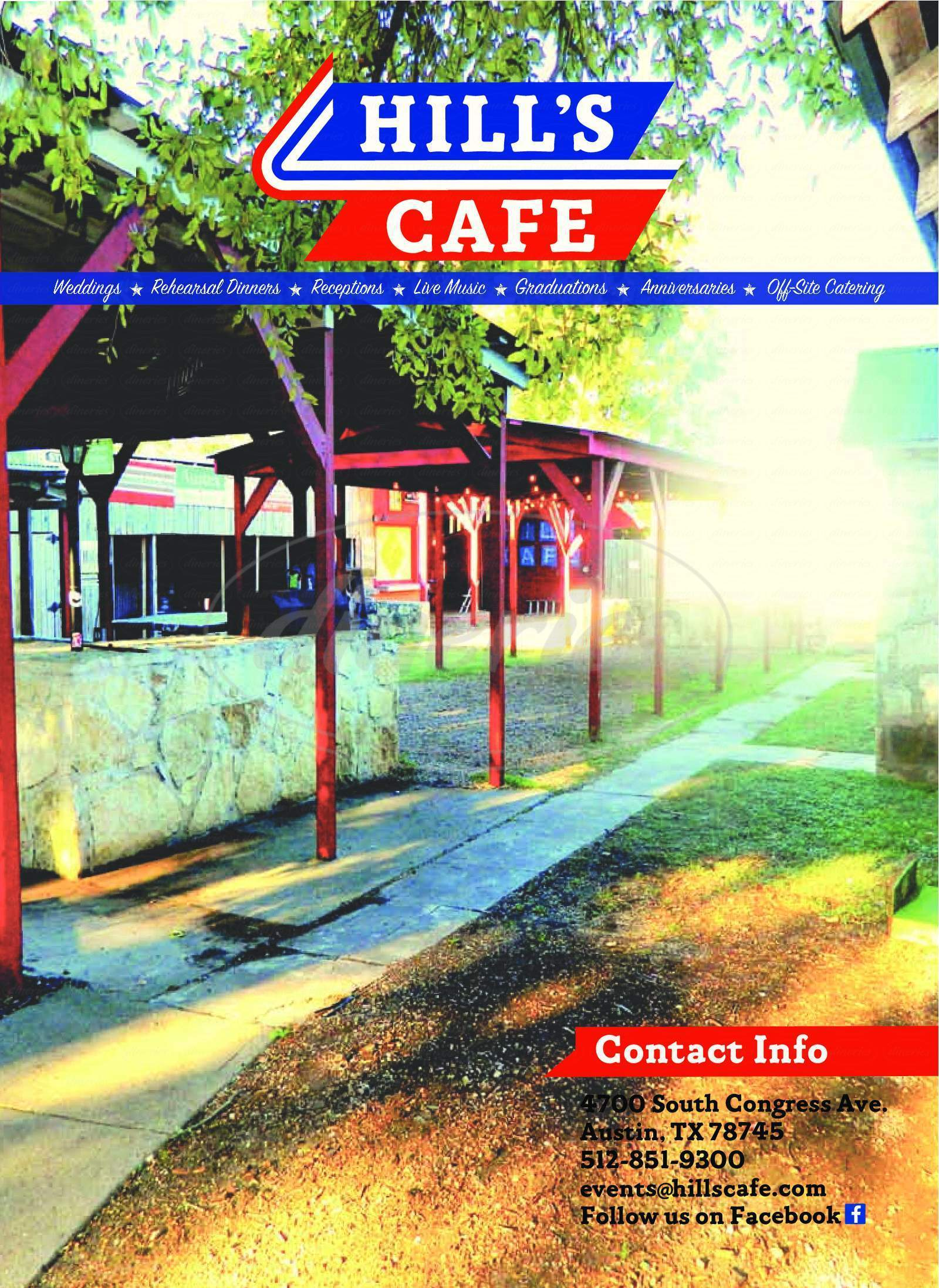 menu for Hill's Cafe