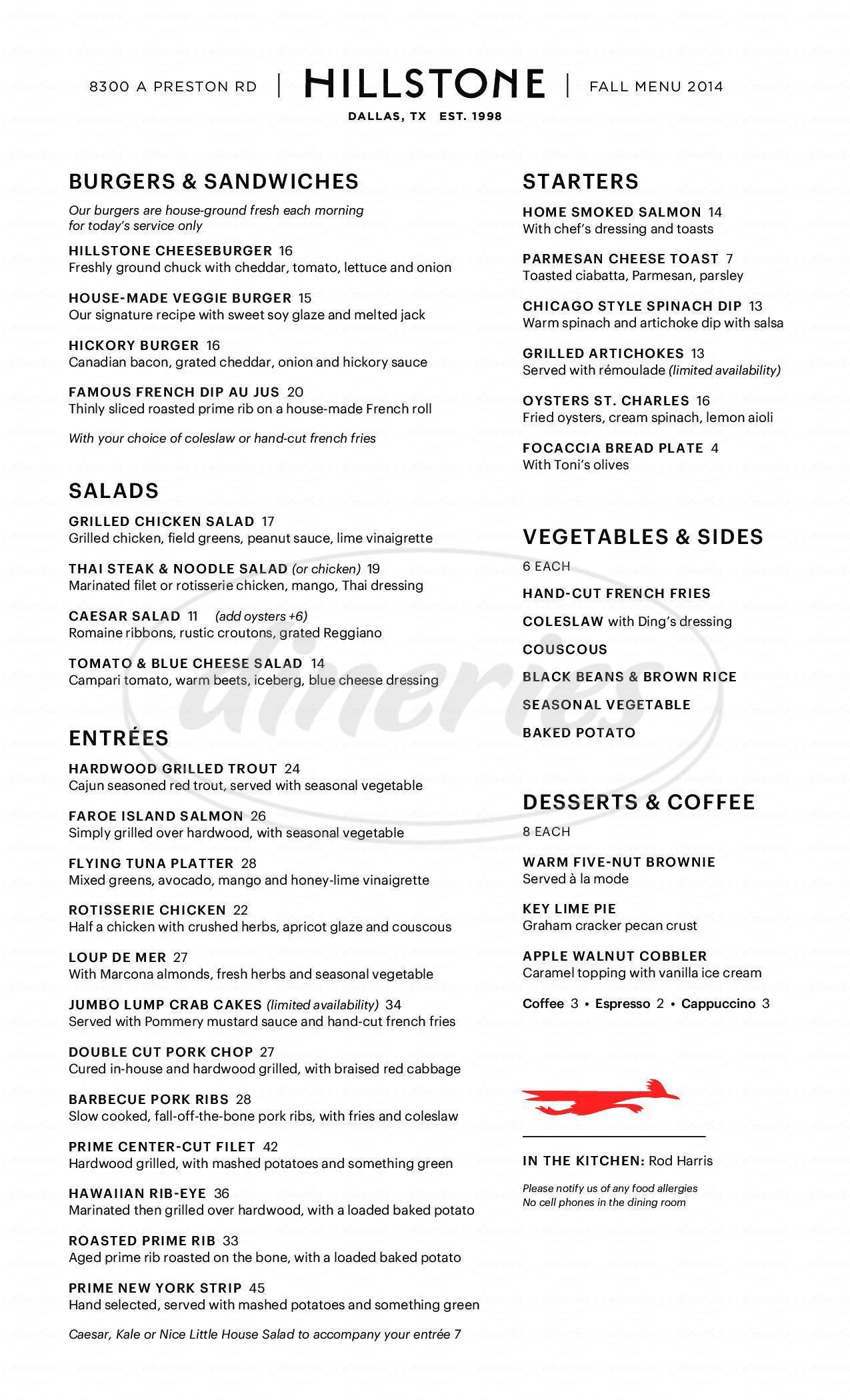 menu for Hillstone