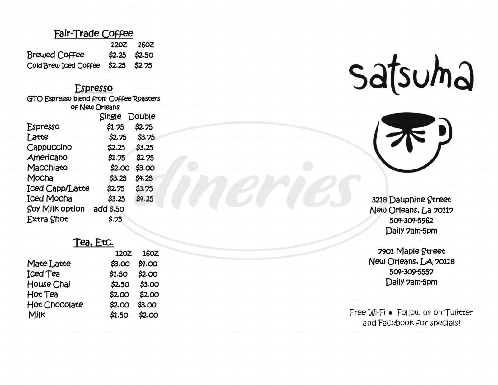menu for Satsuma Café