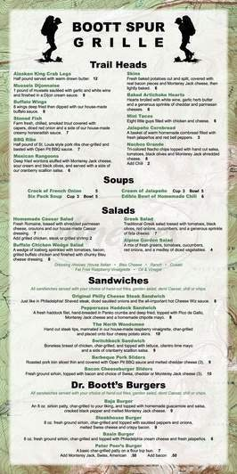 menu for Boott Spur Grille