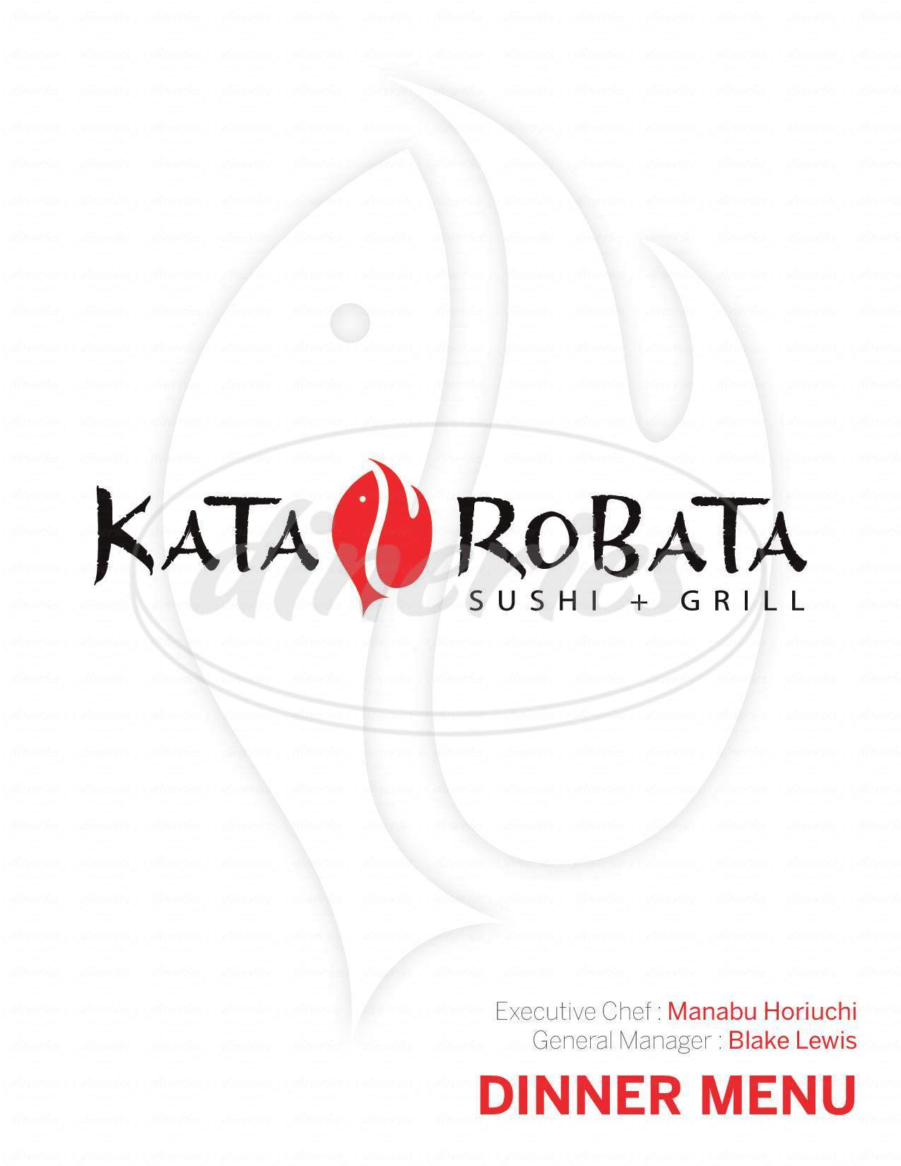 menu for Kata Robata Sushi & Grill