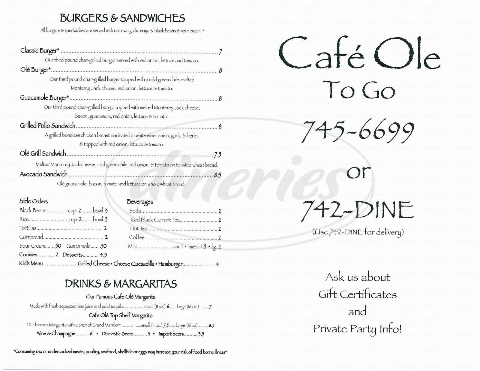 menu for Cafe Ole