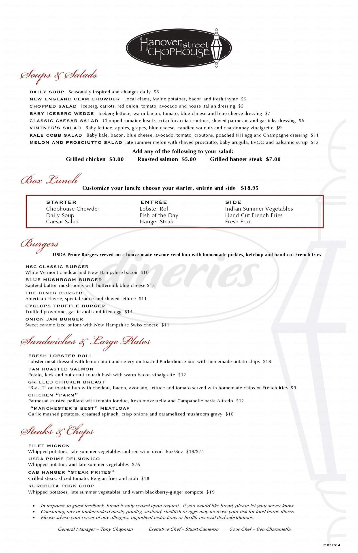 menu for Hanover Street Chophouse