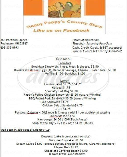 menu for Happy Pappy's Country Store