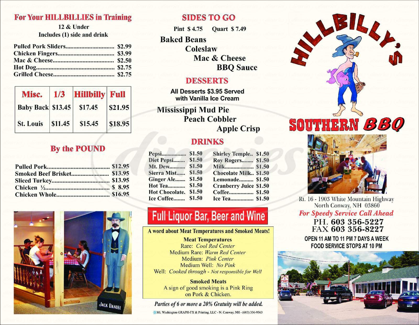 menu for Hillbilly's Southern BBQ