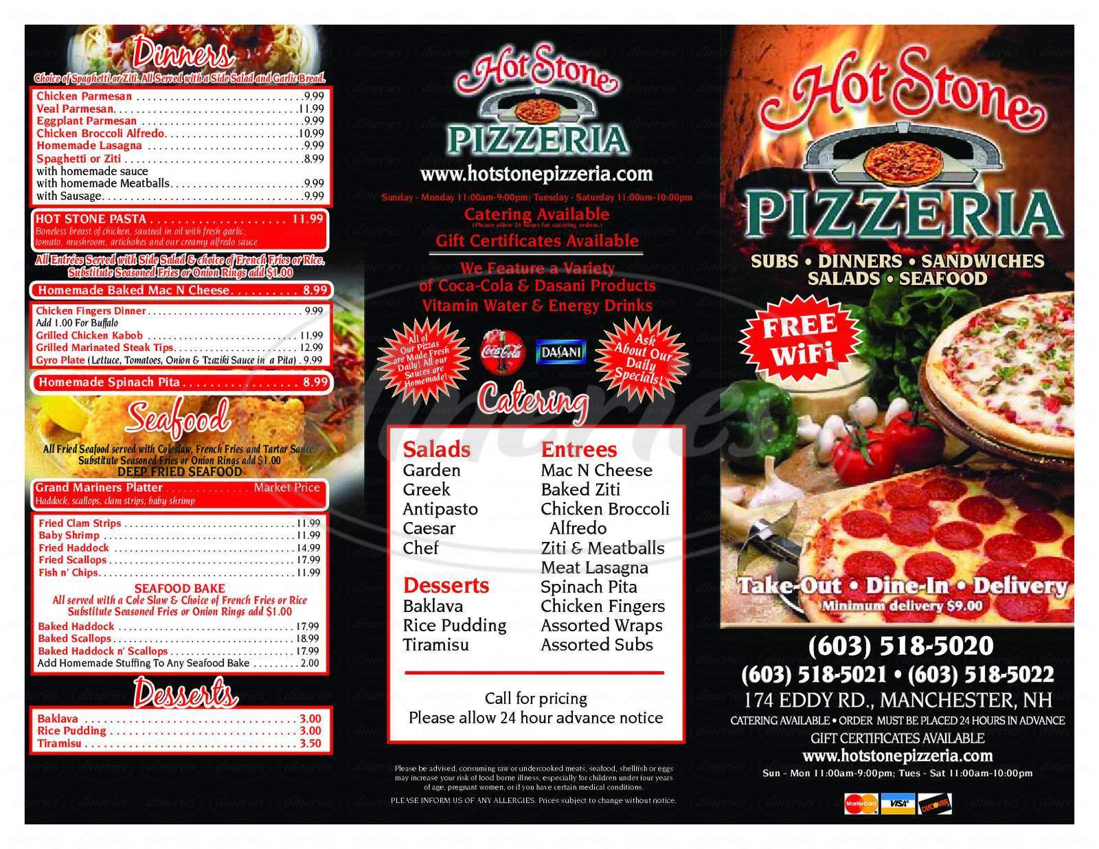 menu for Hot Stone Pizzeria