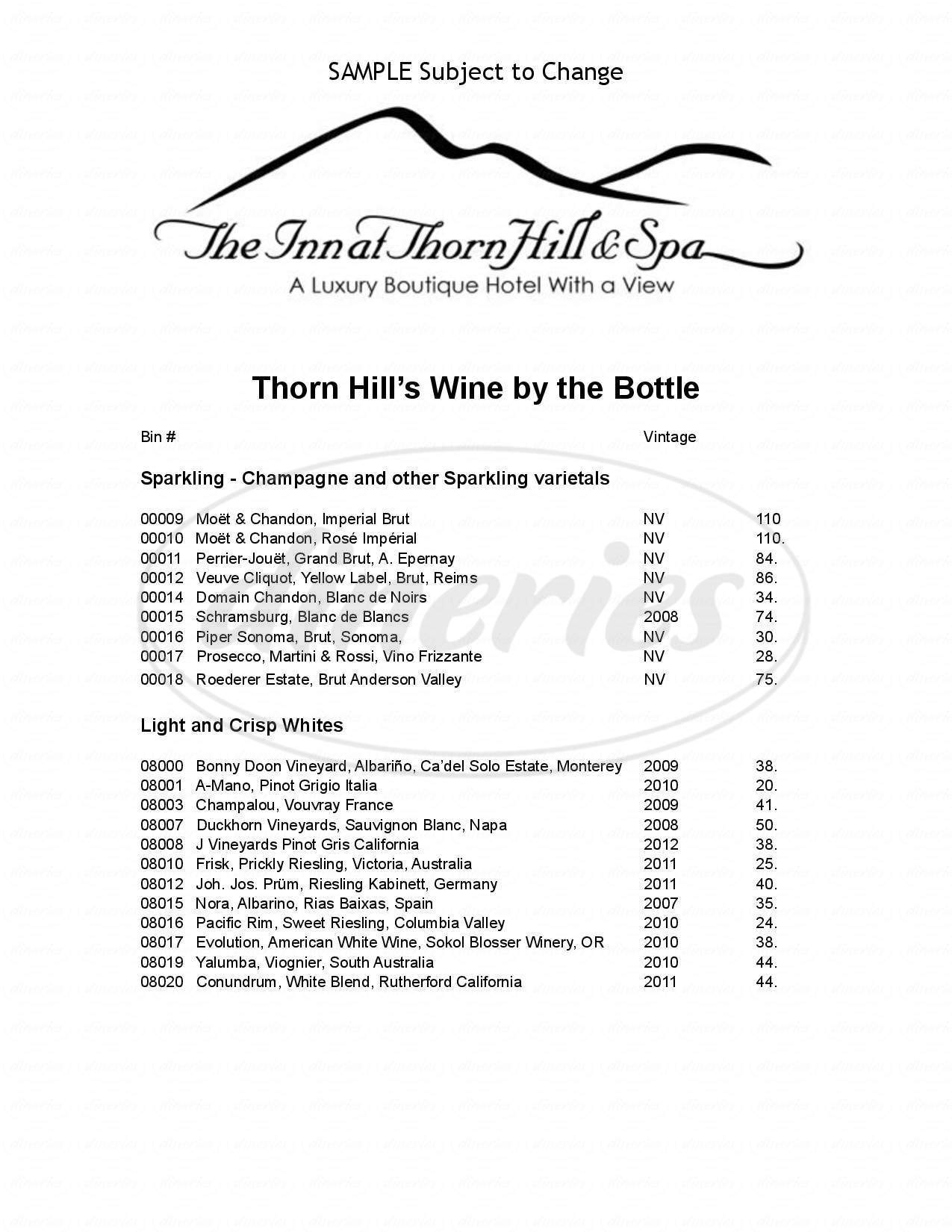 menu for Inn At Thorn Hill & Spa