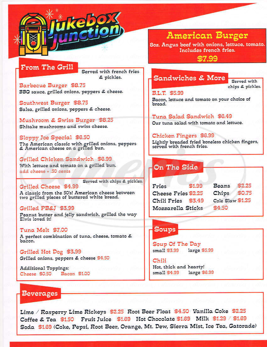 menu for Jukebox Junction