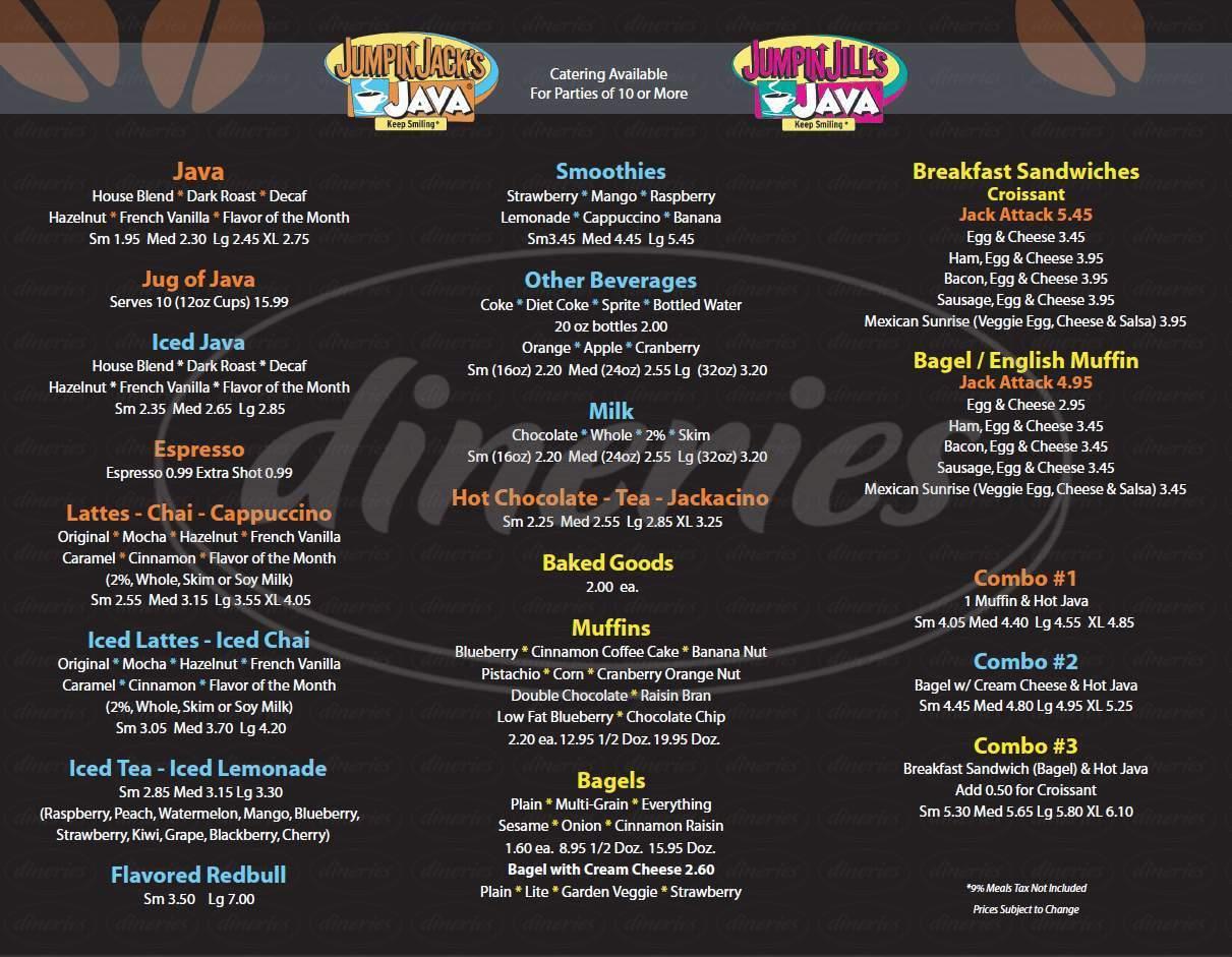 menu for Jumpin' Jack's Java