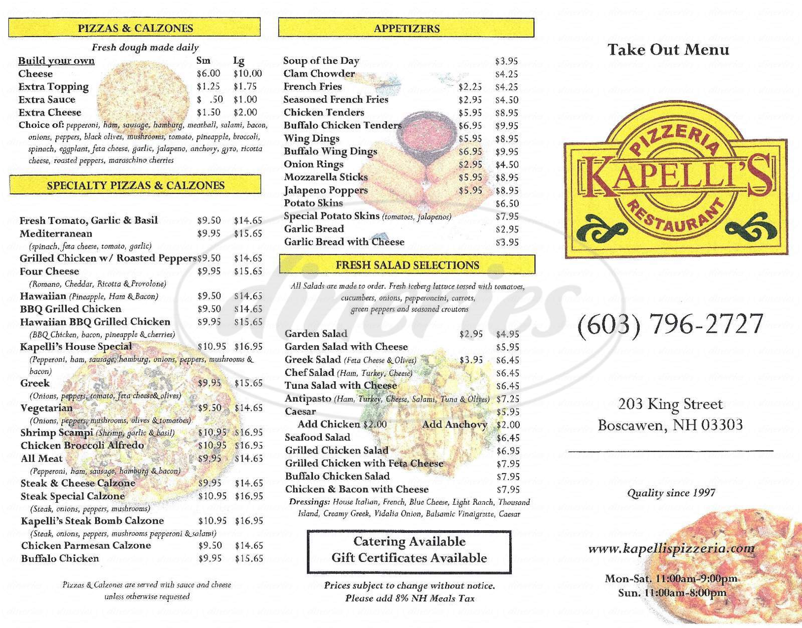 menu for Kapelli's Pizzeria & Restaurant