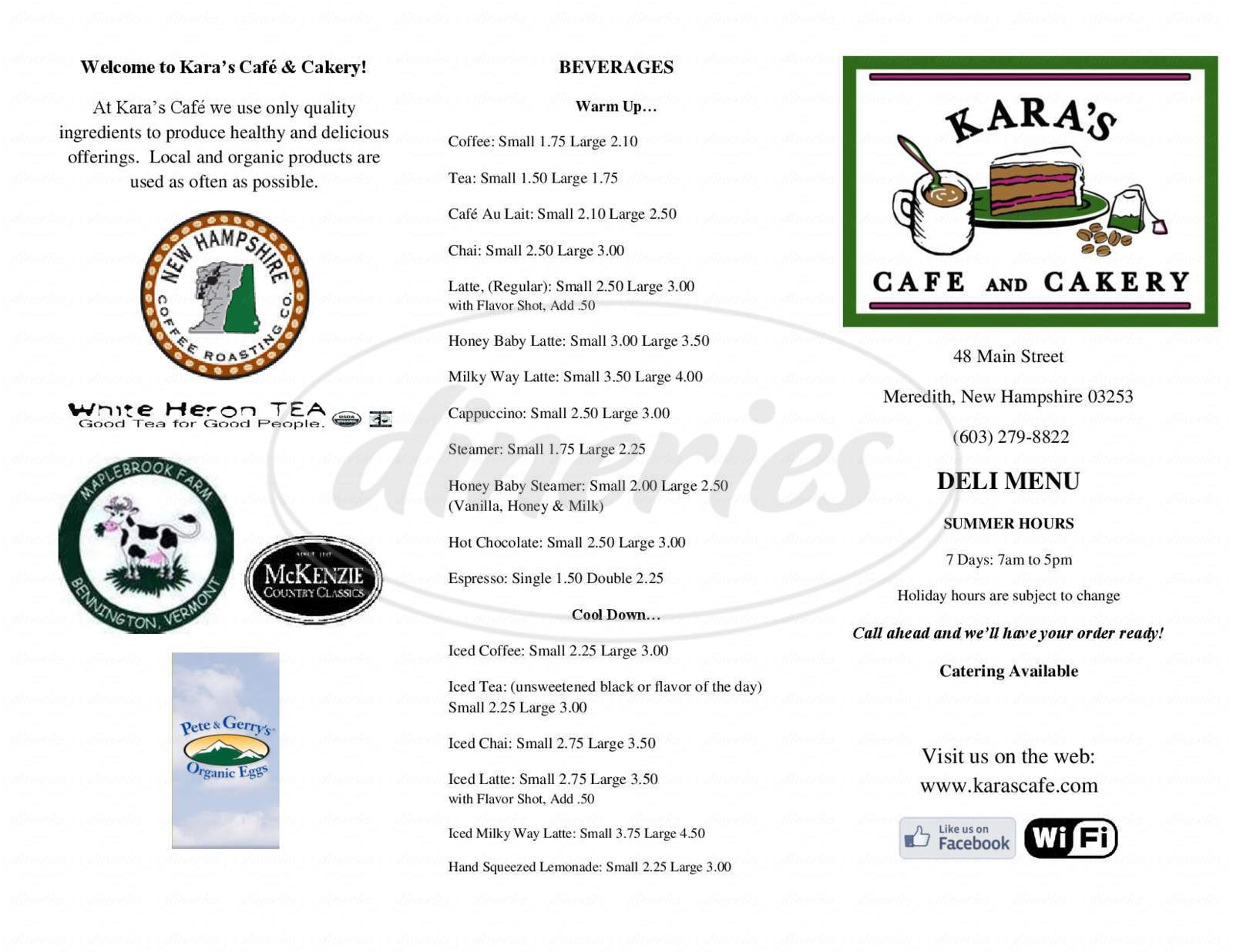 menu for Kara's Cafe & Cakery